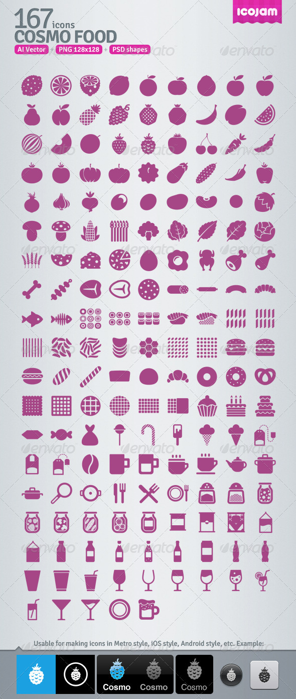 167 AI and PSD Food Icons - Media Icons