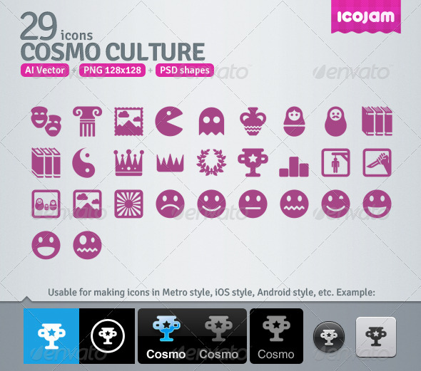 29 AI and PSD Culture Icons - Media Icons