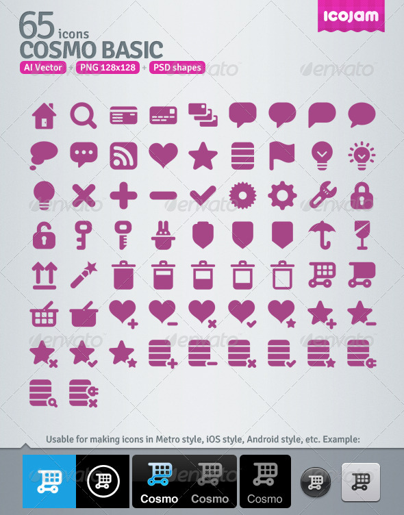 65 AI and PSD Basic Icons - Media Icons