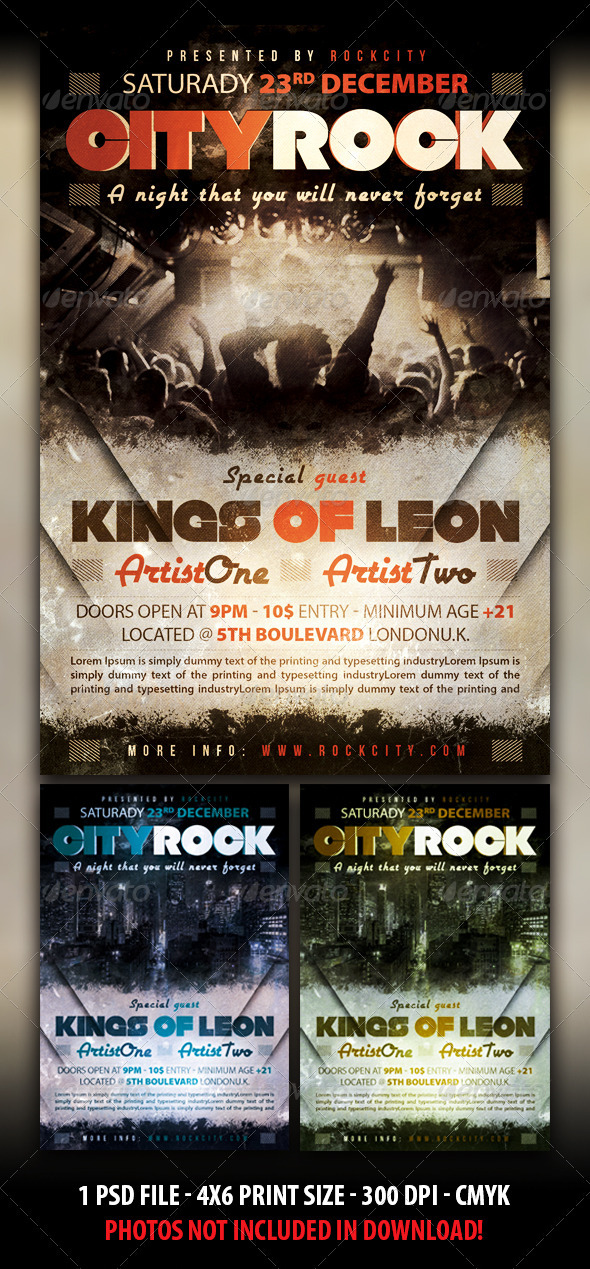 GraphicRiver Rock City Party Flyer 3615538