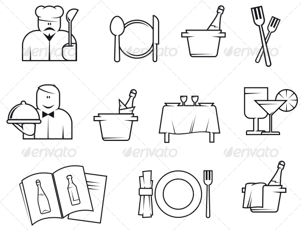 GraphicRiver Restaurant Symbols 3619535