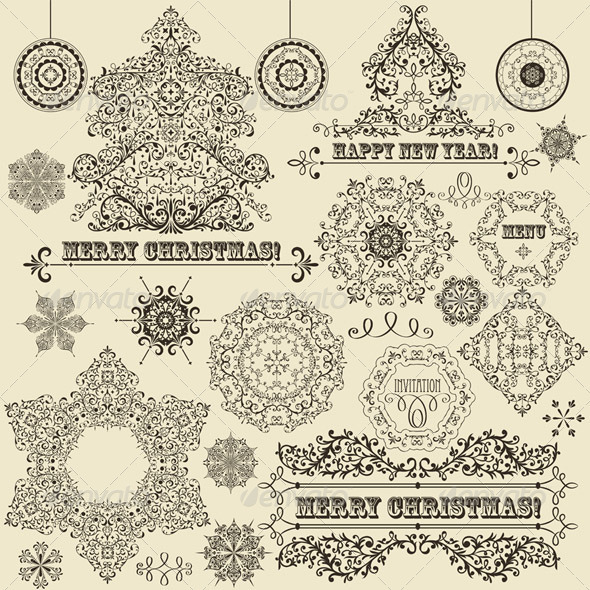 GraphicRiver Vector Vintage Christmas Design Elements 3624146