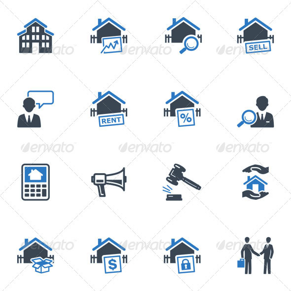 GraphicRiver Real Estate Icons Blue Series 3626194