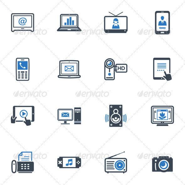 Electronics Icons - Blue Series - Technology Icons