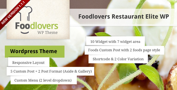 ThemeForest Foodlovers Restaurant Elite WP 3041369