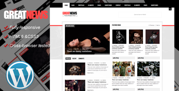 Great News Responsive Wordpress Theme - Blog / Magazine WordPress