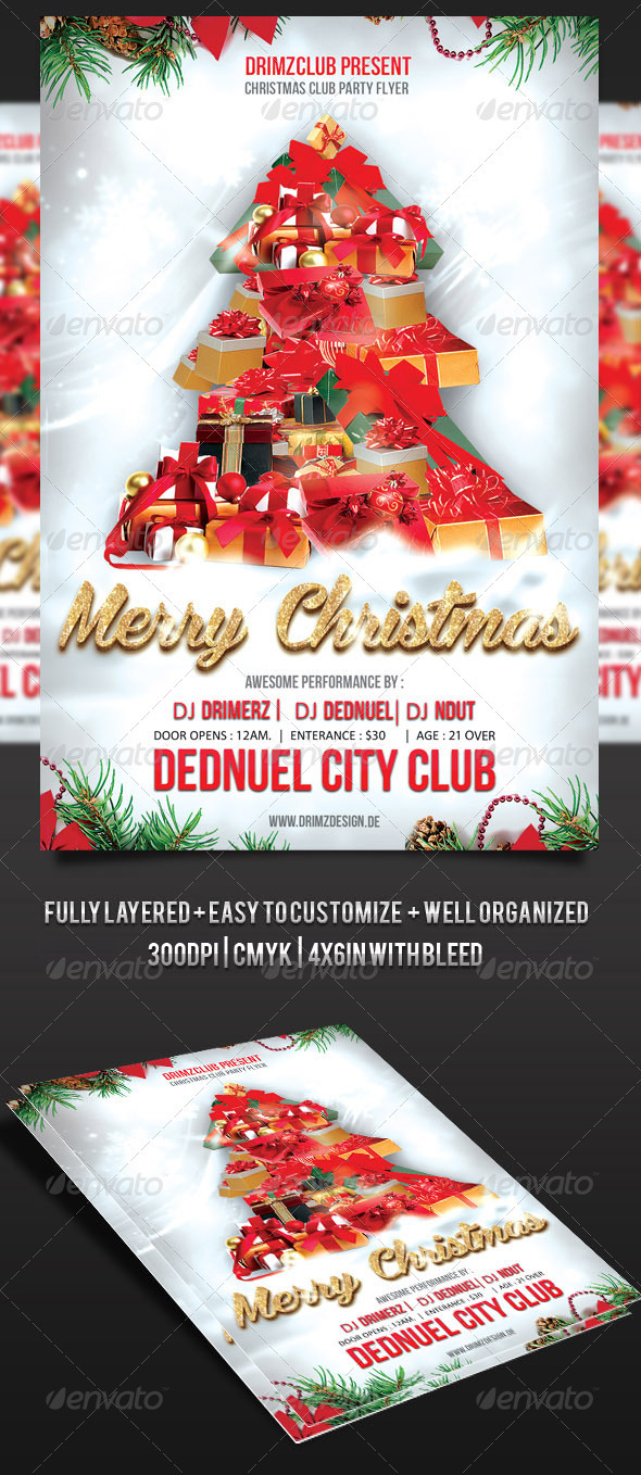 GraphicRiver Christmas Tree Party Flyer 3585066