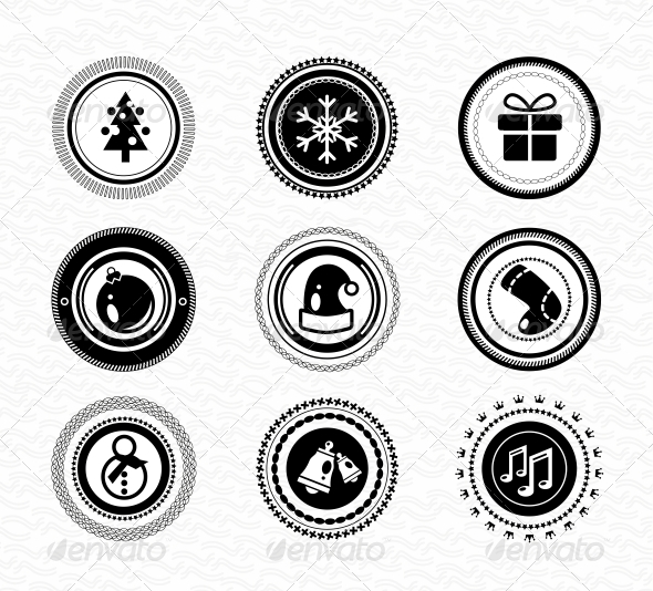GraphicRiver Set of Vintage Retro Black Christmas Labels 3627846