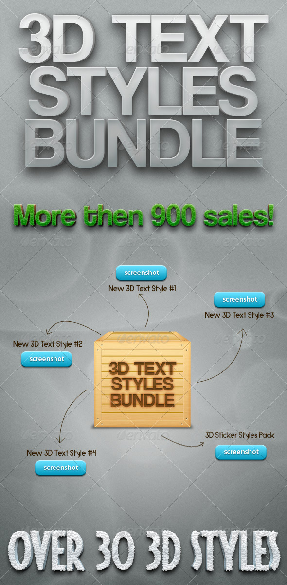 3D Text Styles Bundle - Text Effects Styles