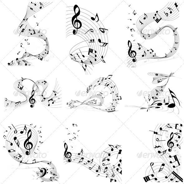 GraphicRiver Musical Note Staff Set 3628727