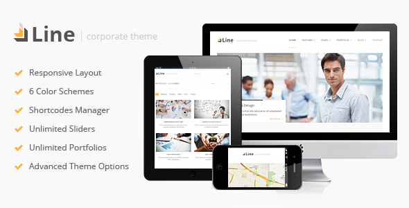 ThemeForest Line Responsive Corporate WordPress Theme 3627257