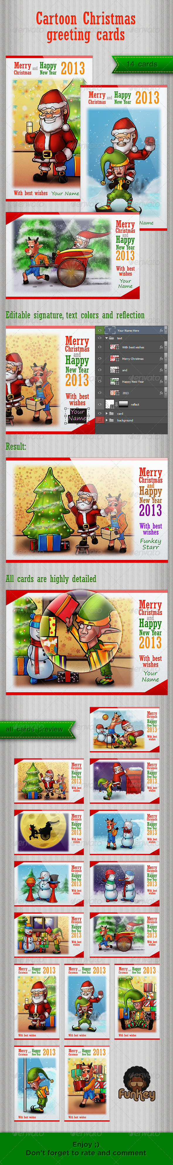 GraphicRiver Cartoon Christmas greeting cards 3629364
