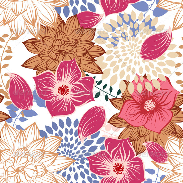 Seamless Floral Pattern - Textures / Fills / Patterns Illustrator