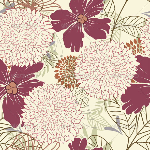 Seamless Floral Pattern - Artistic Textures / Fills / Patterns