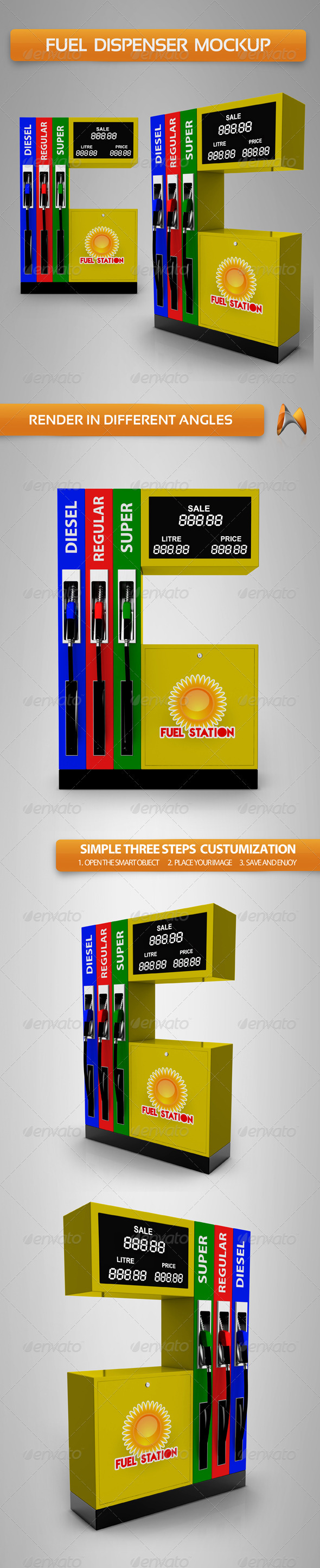 GraphicRiver Fuel Dispenser Mockup 3632124