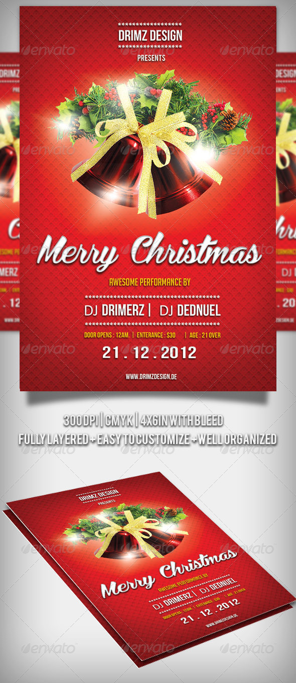 GraphicRiver Red Christmas Flyer 3591992