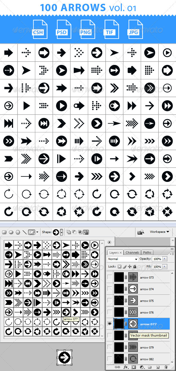 100 Arrows Set. Volume 01 - Symbols Shapes