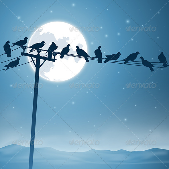 GraphicRiver Birds on a Line 3634896