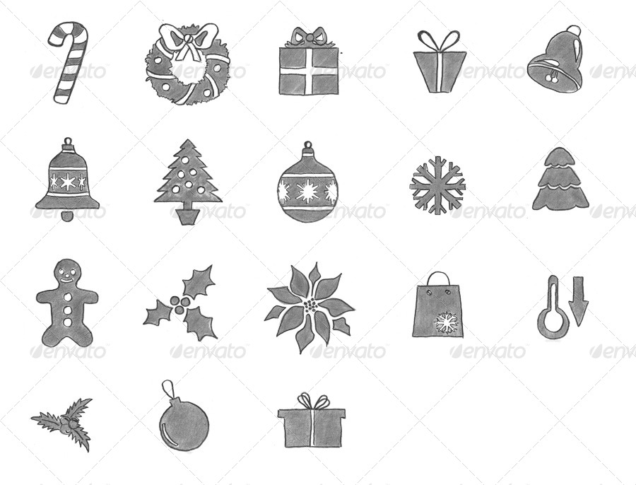 18 Christmas icons (black pencil)