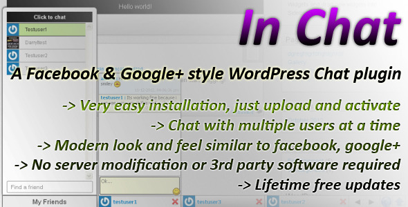 CodeCanyon In Chat WordPress Plugin for users to chat 3623962