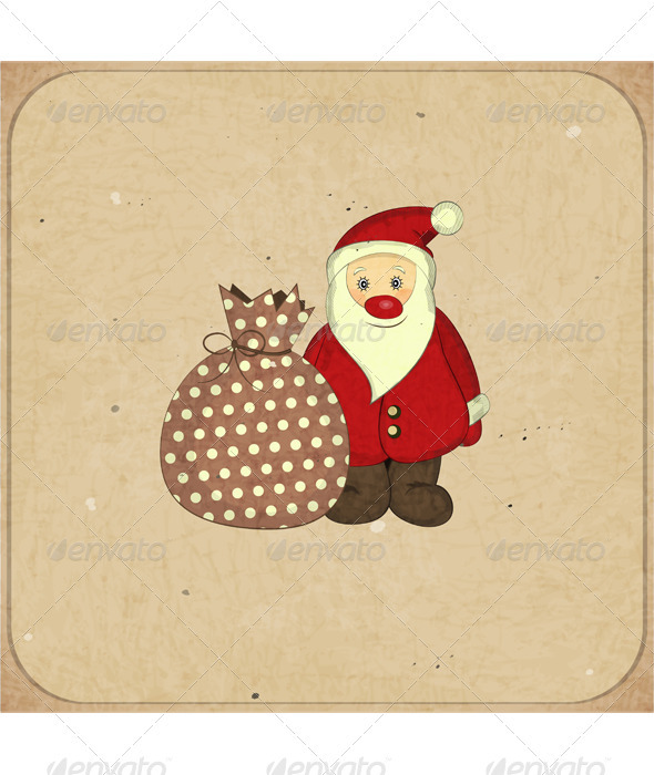 GraphicRiver Christmas Cards with Cartoon Santa and Gift 3637050