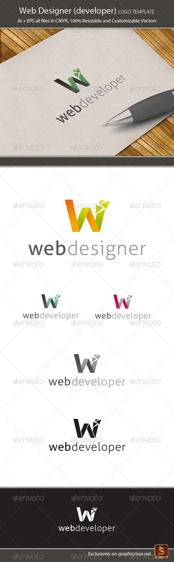 GraphicRiver Web Designer & Developer Logo Template 3637059