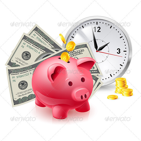 GraphicRiver Pig Moneybox and Money 3640512