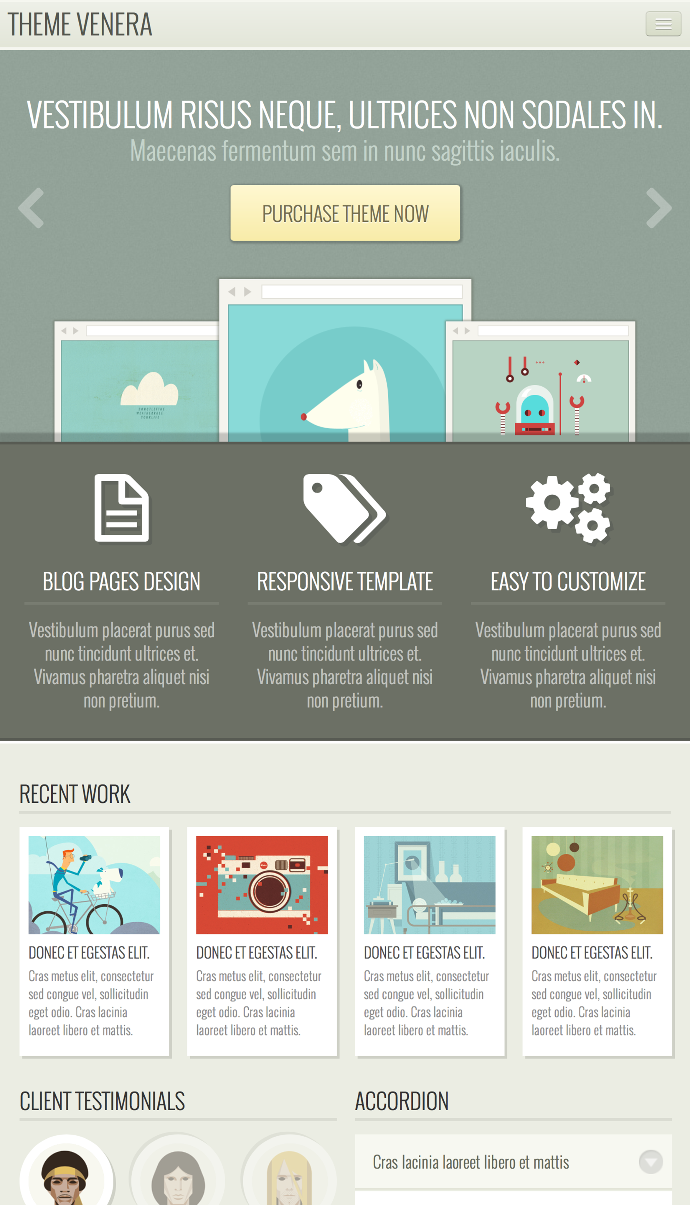 Venera - Responsive HTML Template - Retro colors