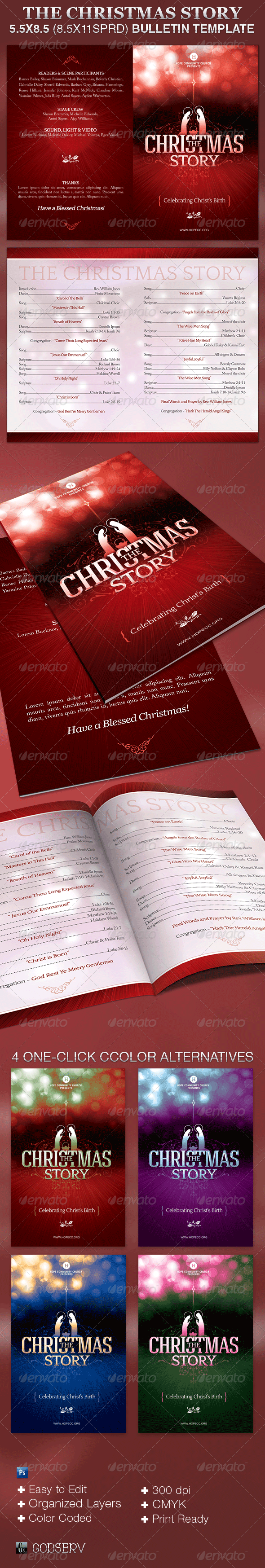 The Christmas Story Church Bulletin Template - Informational Brochures