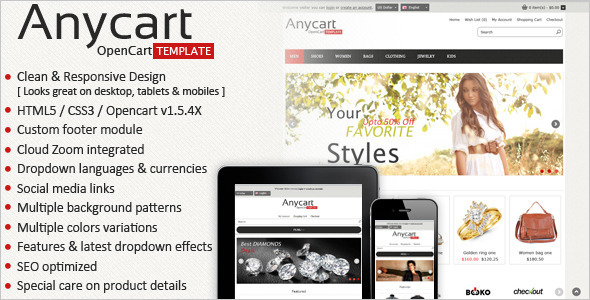 ThemeForest Anycart Elegant and responsive OpenCart theme 3005425
