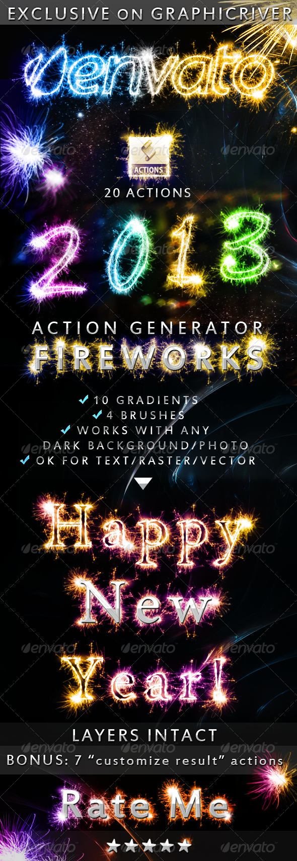 GraphicRiver Fireworks Sparklers Effect Photoshop Action 3603095