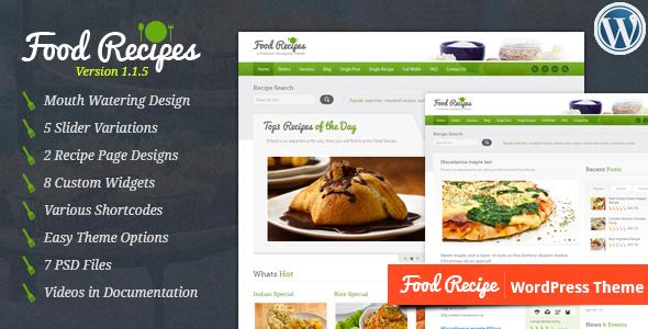 ThemeForest Food Recipes WordPress Theme 1923882