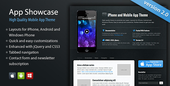 ThemeForest App Showcase iPhone and Mobile App 179129