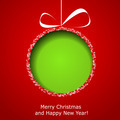 Abstract green Christmas ball cutted from paper on red backgroun - PhotoDune Item for Sale