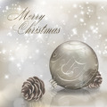 Silver Merry Christmas greeting card with xmas ball - PhotoDune Item for Sale