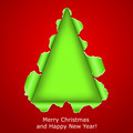 Abstract Christmas tree made ??of torn paper on red backgrou - PhotoDune Item for Sale