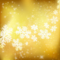 Golden Xmas background. Abstract winter design with stars and sn - PhotoDune Item for Sale