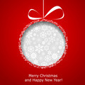 Abstract Christmas ball cutted from paper on red background - PhotoDune Item for Sale