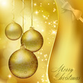 Golden Christmas balls on abstract gold background - PhotoDune Item for Sale