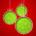 Abstract Xmas greeting card with green Christmas balsl cutted fr - PhotoDune Item for Sale