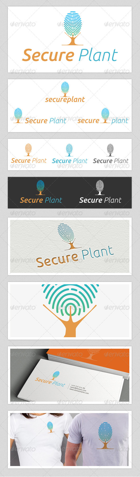 GraphicRiver Secure Plant Finger Print Logo 3583214