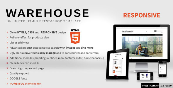 ThemeForest Warehouse Responsive HTML5 Prestashop Theme 3178575