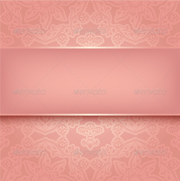 GraphicRiver Lace on Background Ornamental Pink Greeting Card 3645641