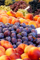 Heap Of Fresh Organic Peaches And Damson Plums  - PhotoDune Item for Sale