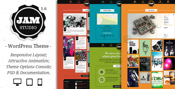 ThemeForest Jam Studio Responsive Wordpress Theme 3502027