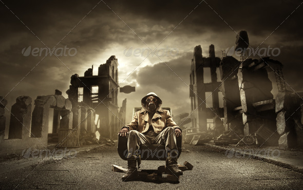 Post apocalyptic survivor in gas mask - Stock Photo - Images