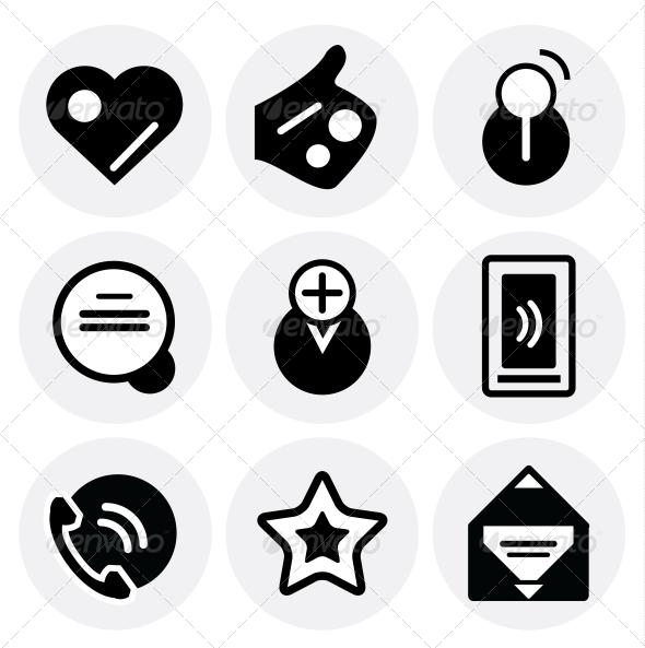 GraphicRiver Vector black social icons Icon set 3649042