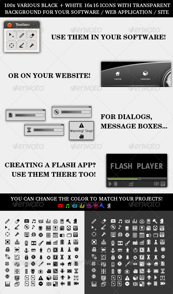 GraphicRiver Toolbox Pixel Icons Pack 3603941