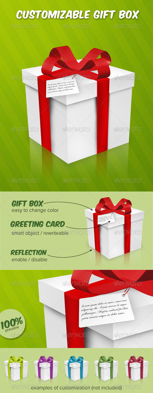 GraphicRiver Customizable Gift Box 3608571