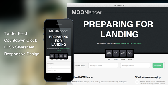 MOONlander: Responsive Countdown Landing Page - Under Construction Specialty Pages